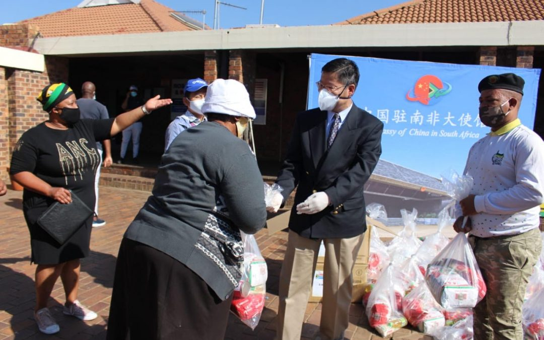 Chinese Embassy in SA Dontes Foods Parcels & Masks in Soweto